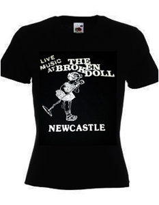live music at the broken doll newcastle lady-fit printed t-shirt